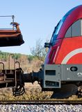Red cargo train Stock Images