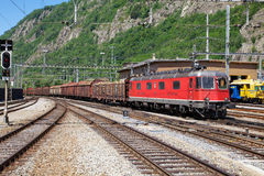 Red cargo train at station. Relief freight train, was stopped at the station Royalty Free Stock Photo
