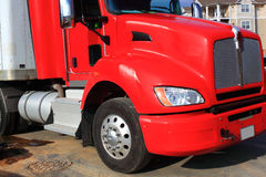 Red Cargo Truck Stock Photo
