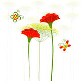 Red Carnation Flower, Dandelion and Butterfly Stock Photography