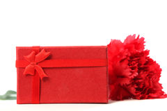 Red carnation with gift box. Red carnation with red gift box, white background Stock Photos