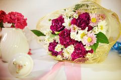 Red carnations with white chrysanthemum and cutter florals Royalty Free Stock Photos