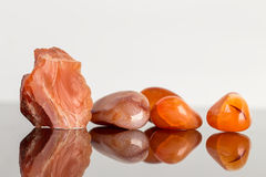 Red carnelian, uncut and tumble finished, reflections Stock Images