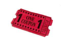 Red Carnival Admission Movie Ticket stock image