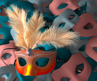 Red carnival mask with feathers Royalty Free Stock Image