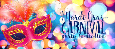 Red carnival mask with feathers on shining bokeh lights, Mardi Gras invitation card template Royalty Free Stock Photos