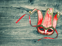 Red carnival mask harlequin. Symbol of venetian mask festival Royalty Free Stock Images