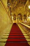 Red carpet. Interior details in Parliament building, Budapest, Hungary Royalty Free Stock Image