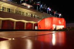 Red Carpet. Night shot of the red carpet of the 66th Venice International Film Festival standing in the Casino Square of Lido Stock Images