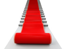 Red carpet. 3d image on white background Stock Photo