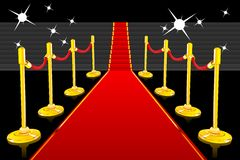 Red Carpet. Illustration of red carpet going up to stairs lined with gold stanchions royalty free illustration