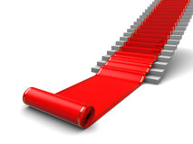 Red carpet. 3d illustration of red carpet roll and white stairs Stock Images