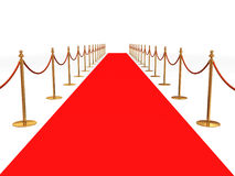 Red carpet. Entrance with the stanchions and the ropes Royalty Free Stock Photos