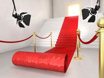 Red carpet. Very high resolution 3d rendering of a staircase with a red carpet Stock Images