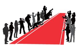 Red Carpet. Group of people with camera near  red carpet. Vector silhouettes Stock Photos