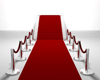 Red carpet. 3D render of a red carpet leading up stairs Royalty Free Stock Images