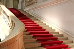 Red carpet. On clasically designed marble staircase Stock Photography