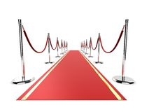 Red carpet. 3d rendered illustration of a red carpet with barriers Stock Images