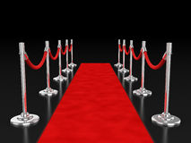 Red carpet 3d illustration. Over dark background Royalty Free Stock Photos
