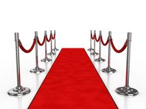 Red carpet 3d illustration. Isolated over white background Stock Photos