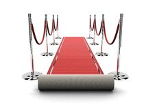 Red carpet. 3d rendered illustration of a red carpet and barriers Stock Photos