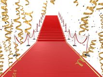 Red carpet. 3d rendered illustration of a red carpet and barriers and golden ribbons Royalty Free Stock Images
