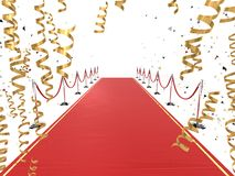 Red carpet. 3d rendered illustration of a long red carpet with golden ribbons Royalty Free Stock Photos