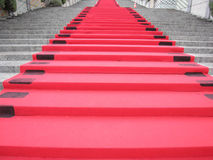 Red carpet. Celebration red carpet on steps Royalty Free Stock Photo