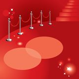 Red carpet. Vector illustration, portable velvet rope, stairs and lights Royalty Free Stock Image