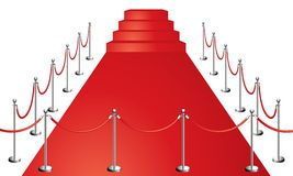 Red carpet. Entrance vector illustration isolated on white Stock Images