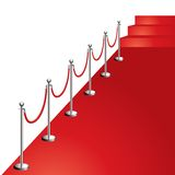 Red carpet. Portable velvet rope on red carpet vector illustration, diagonal composition Royalty Free Stock Photo