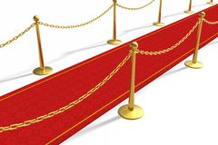 The red carpet. With golden barriers royalty free illustration