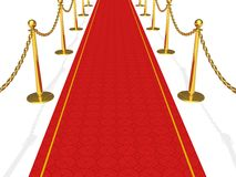 The red carpet. Red textured carpet with shiny golden chained barriers royalty free illustration