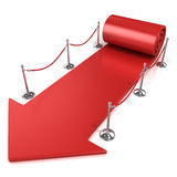 Red carpet arrow, side view Stock Photography