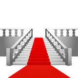 Red carpet on baroque staircase on white background Royalty Free Stock Photos