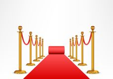 Red carpet and barrier rope Stock Photography