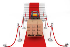 Red Carpet and Barrier Rope with Forklift and Boxes Royalty Free Stock Image