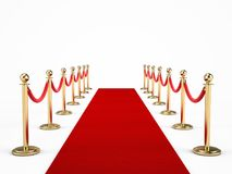 Red carpet and barrier rope isolated on white Royalty Free Stock Photos