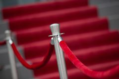 Red Carpet and Barrier Rope. Red Carpet, stairs and Barrier Rope Stock Photos