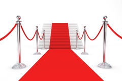 Red Carpet and Barrier Rope. On a white background Royalty Free Stock Images