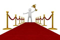 Red carpet and barrier rope on white background. Isolated 3D ill Stock Image
