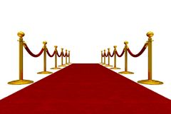 Red carpet and barrier rope on white background. Isolated 3D ill. Ustration Stock Image