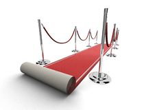 Red carpet with barriers Stock Images