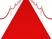 Red carpet with barriers on white background Royalty Free Stock Photography