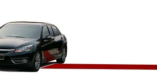 Red carpet and black limousine Stock Image