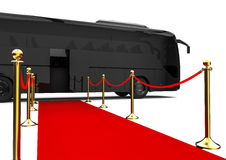 Red carpet Bus. 3D render image representing a red carpet with a black bus at the end royalty free illustration