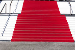 Red carpet in Cannes, France. Stairs of fame Stock Photos