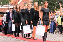 Red carpet catwalk in the street Stock Images