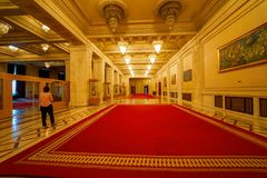 Red carpet for Ceausescu Palace. Biggest building after the Pentagone, Ceausescu Palace is an example of dictator megalomania royalty free stock photo