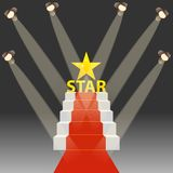 Red carpet for celebrities. Podium with a red carpet and realistic lighting. Flat design,  illustration Stock Image